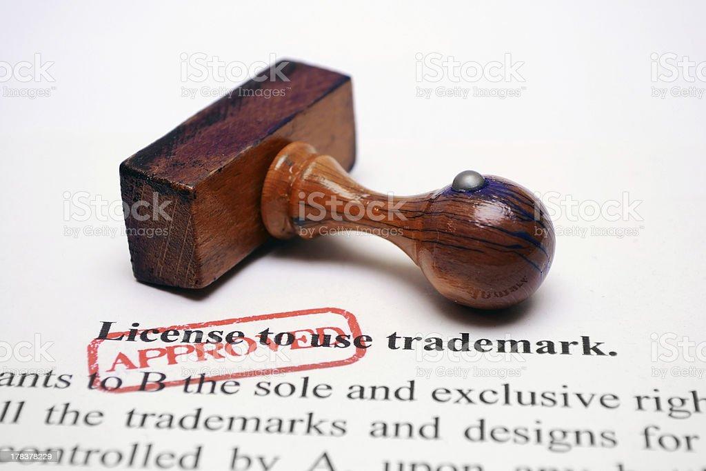 Trademark license stock photo