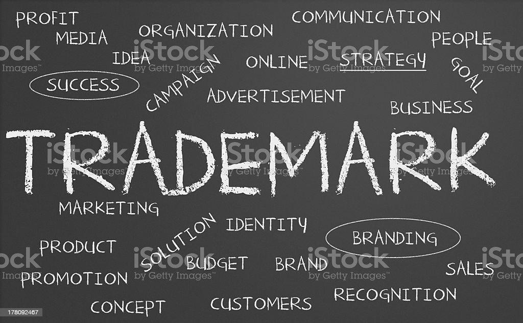 Trademark word cloud stock photo
