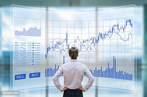 850852928istockphoto Trader analyzing forex trading charts with sell buy buttons, investment 950654250