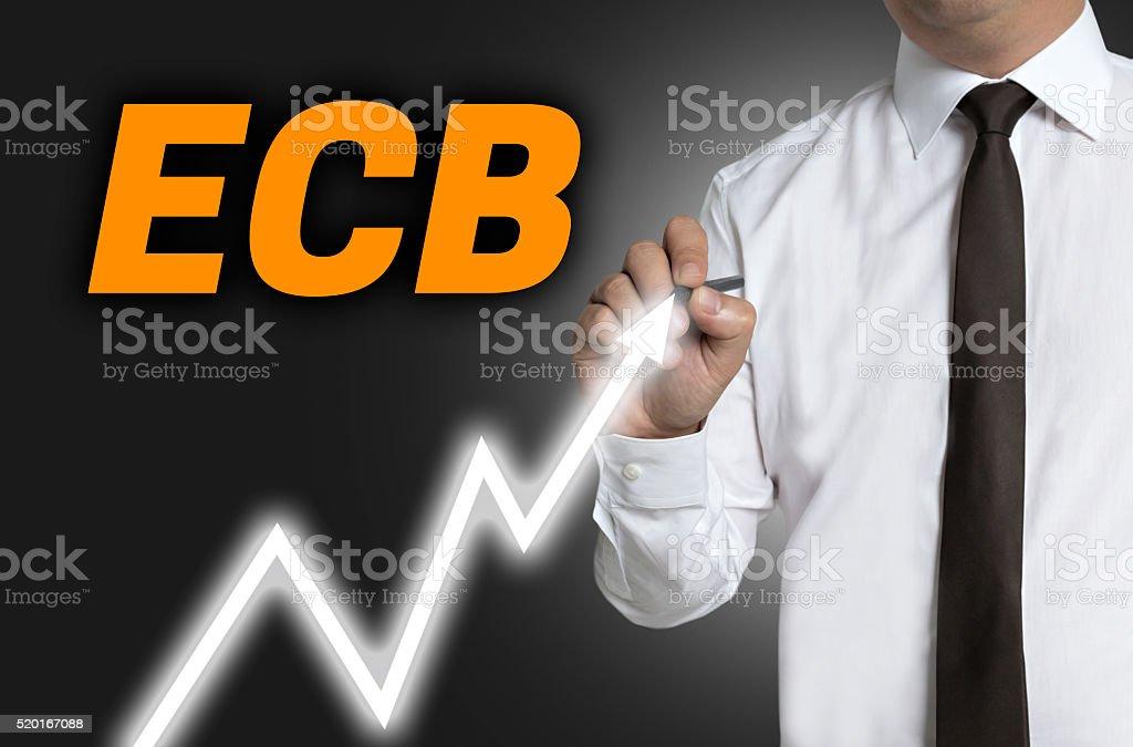 ECB trader draws market price on touchscreen stock photo