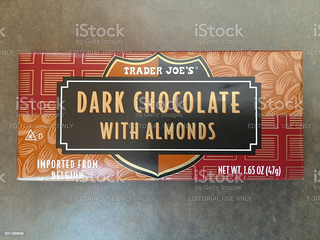 Trader Joe's Dark Chocolate with Almonds Bar stock photo