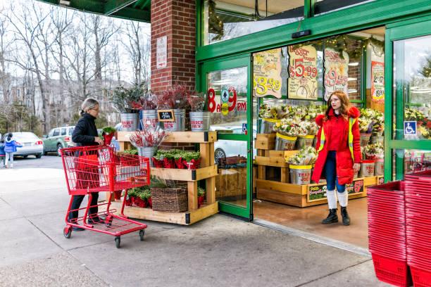 trader joes mitarbeiter in roter kleidung mit kunden, trolley einkaufswagen durch laden eingangstüren außerhalb frauen, winter-blumentöpfe, garten pflanzen in virginia - aldi karriere stock-fotos und bilder