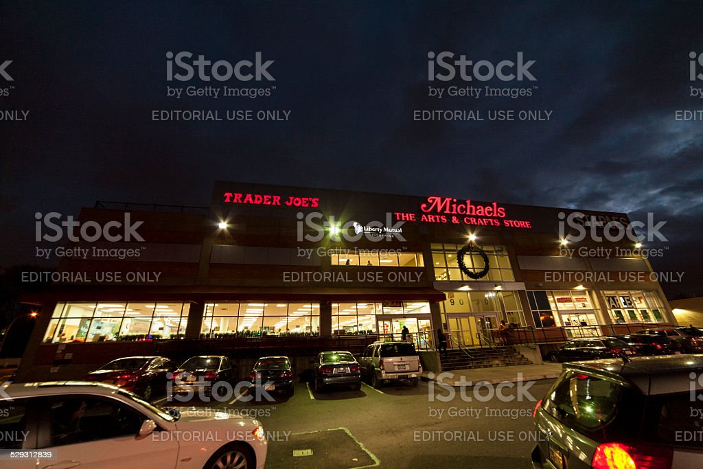Trader Joe's in Queens. Michaels, Staples shopping center. stock photo
