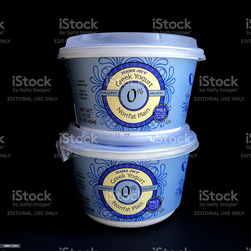 Trader Joe's Non Fat Greek Yogurt stock photo