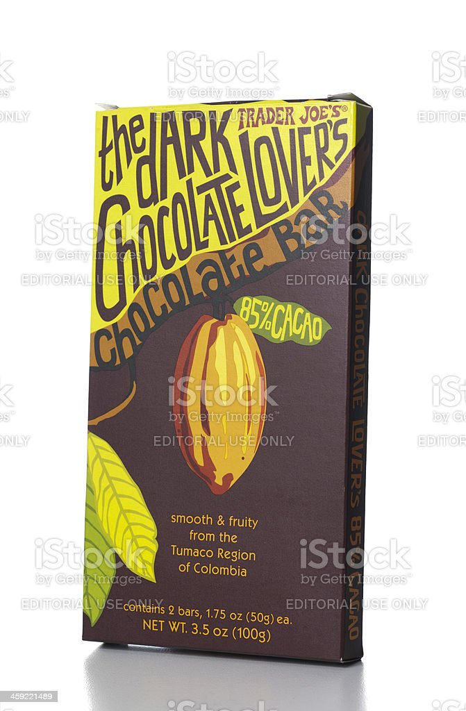 Trader Joe's The dark Chocolate Lovers stock photo