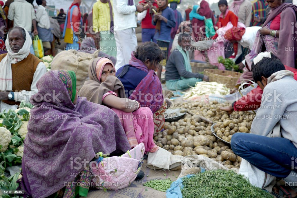 Traders sell their wares at a small village market in northern India stock photo