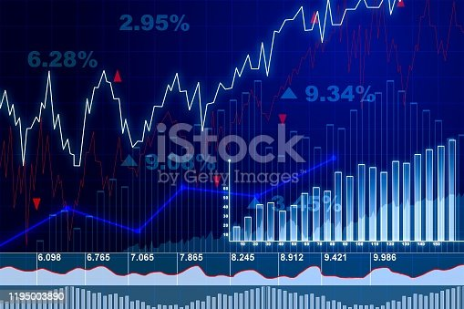 859246828istockphoto Trading and currency exchange concept with financial charts on blue blurry background. 3D Rendering 1195003890