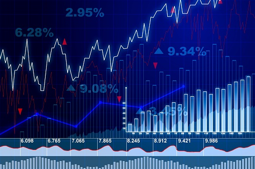 859246828 istock photo Trading and currency exchange concept with financial charts on blue blurry background. 3D Rendering 1195003890
