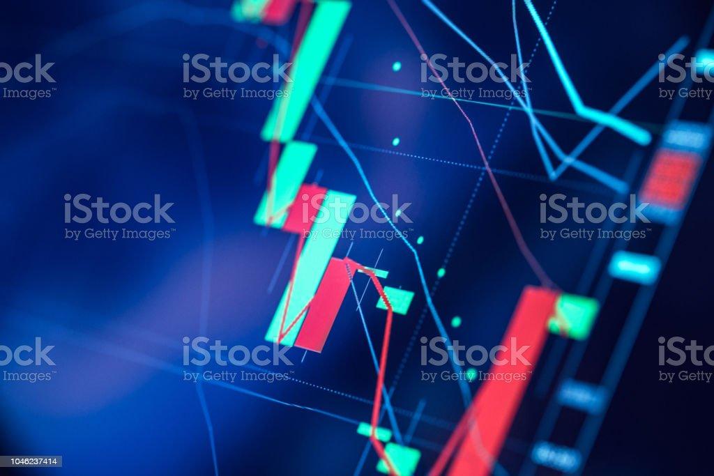 Trading-Chart auf Digitalanzeige Nahaufnahme – Foto