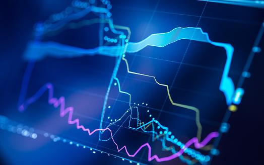 Trading chart at digital display close-up