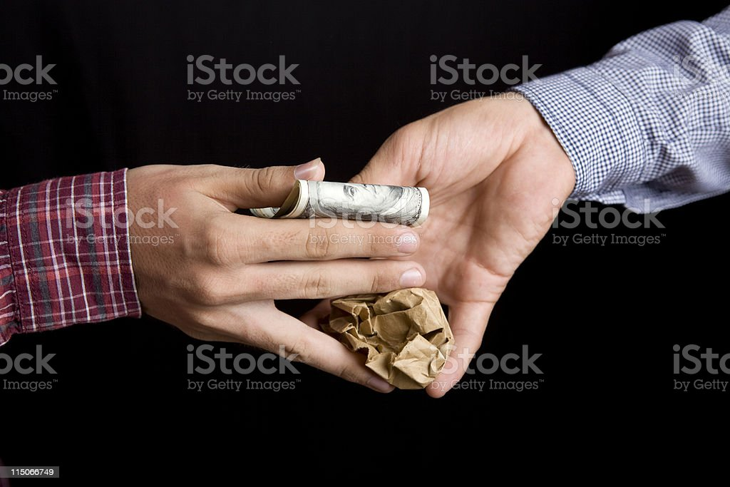 Trading Drug Dealer And Addict Hands With Dollars, Drug Package royalty-free stock photo