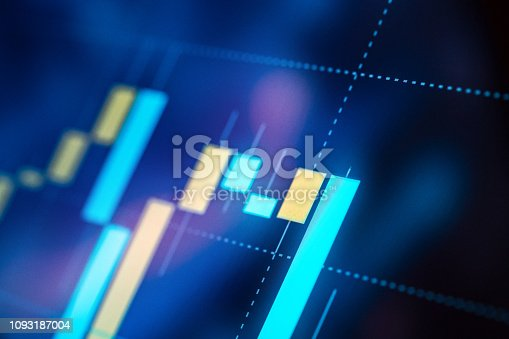 Detailed trading market charts close-up