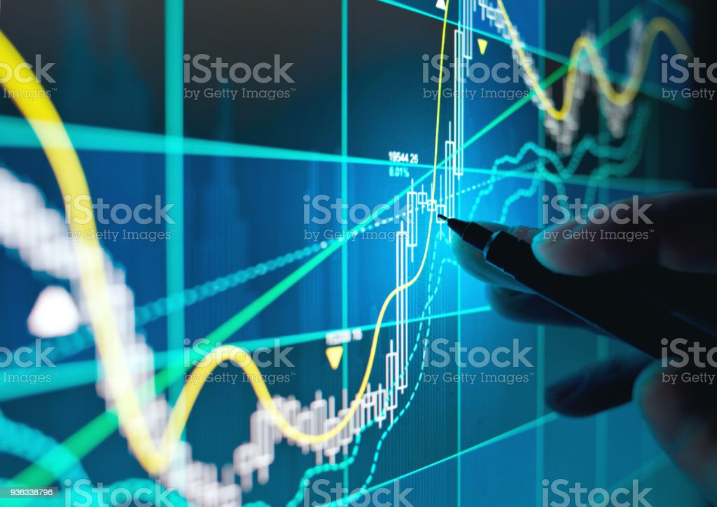 Trading Online Stocks and Shares stock photo