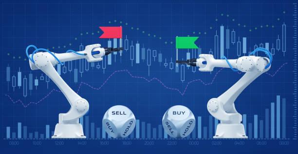 Trading Robots On Stock Market stock photo