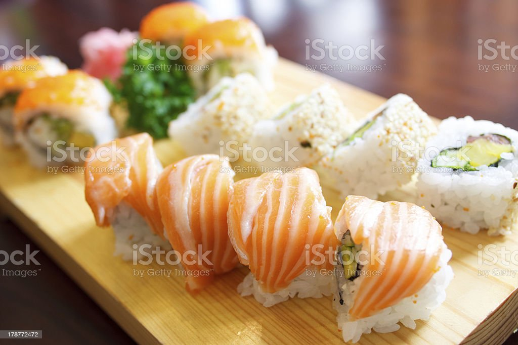 Tradional sushi plate royalty-free stock photo