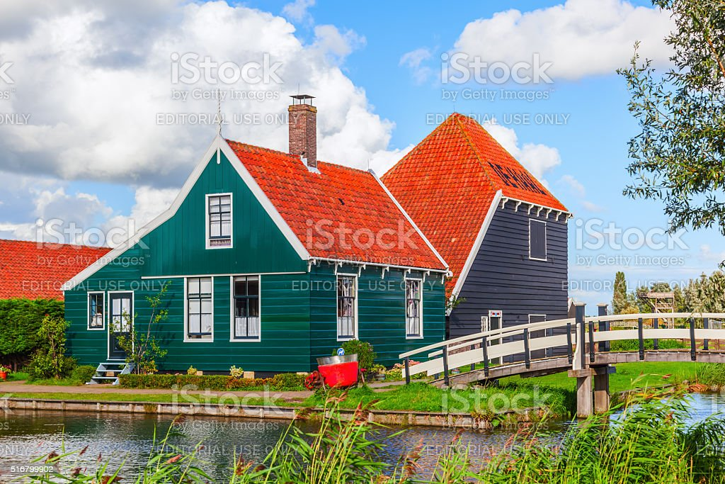 traditinal Dutch buildings at Zaanse Schans, Netherlands stock photo