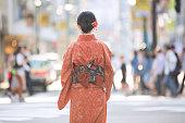 Japanese woman wearing a kimono in Tokyo.