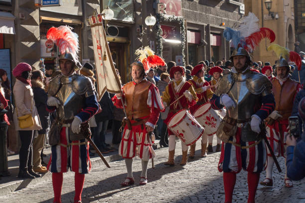 tradition parade of epiphany befana medieval festival in florence, tuscany, italy. - triumph foto e immagini stock
