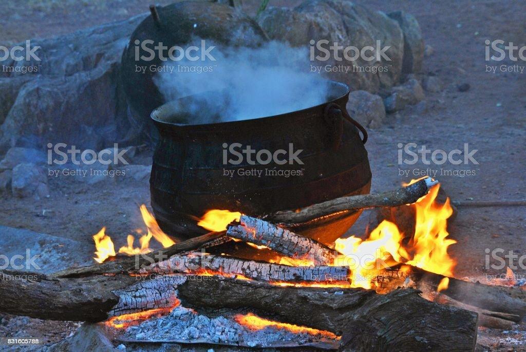 Traditional 3 legged pot stock photo