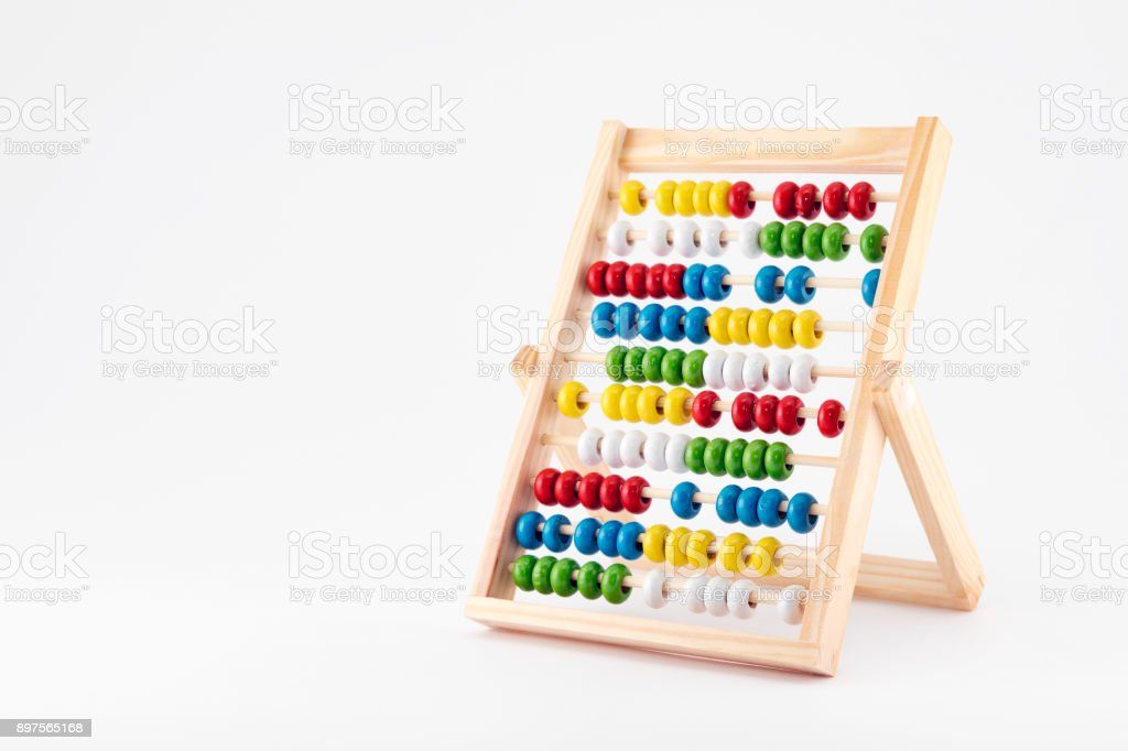 Traditional abacus with colorful wooden beads stock photo