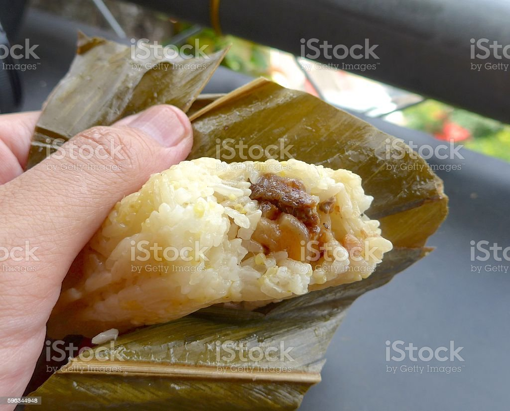 Traditional aboriginal rice dumpling closeup in Taiwan royalty-free stock photo