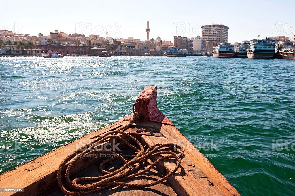 Traditional abra boat in Dubai Creek stock photo