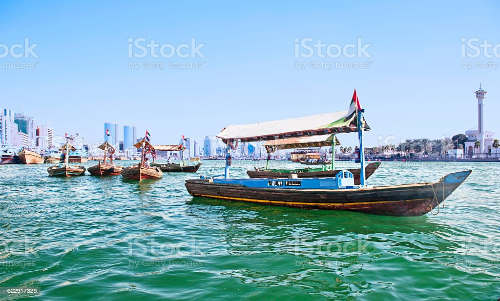 Traditional abra boat in Dubai Creek stock photo