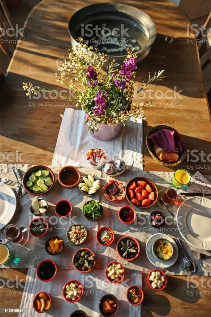 Traditional Aegean Breakfast stock photo