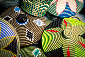 Detail of traditional african handmade products for sale on the market