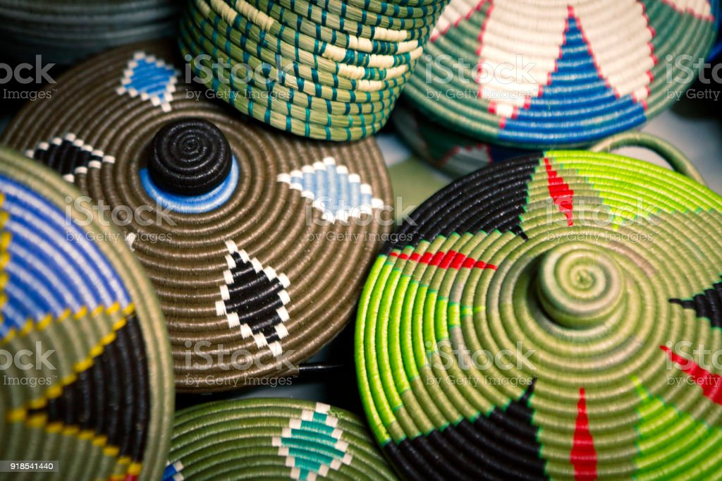 Traditional african handmade baskets stock photo