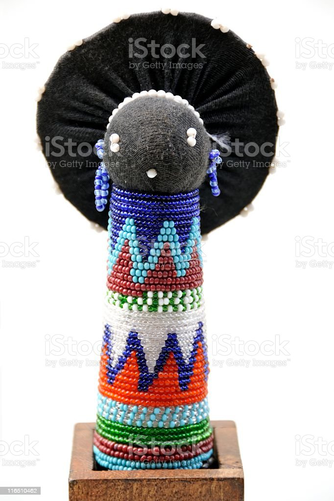 Traditional African Sangoma Doll With Multicolored Beads