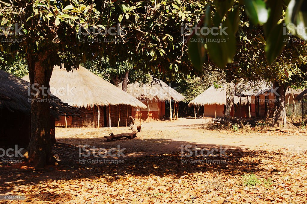 traditional African village stock photo