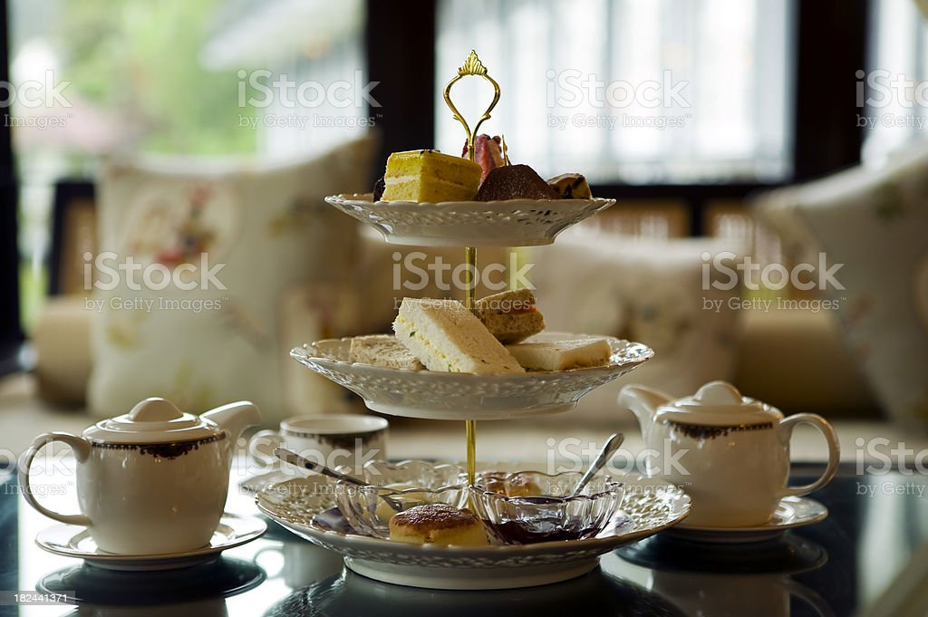 traditional afternoon tea stock photo