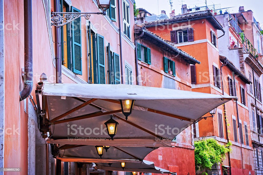 Traditional alley in Trastevere - Rome Italy stock photo