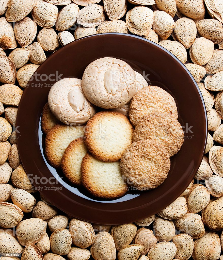 Traditional almond cookies stock photo