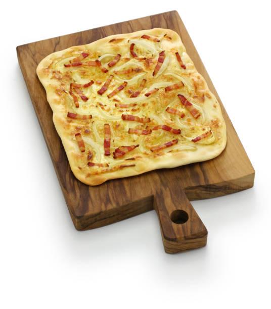 traditional alsatian pie, tart flambe, flammekueche