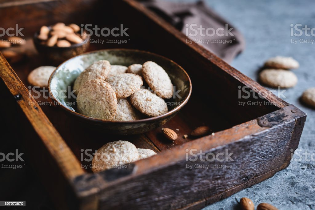 Traditional Amaretti biscuits stock photo