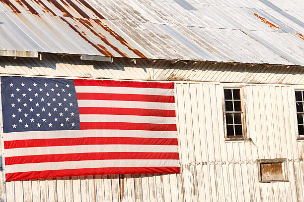 Traditional America A United States flag hanging on the side of an old and weathered wooden structure from the mid 1800's. civil war memorial minnesota stock pictures, royalty-free photos & images