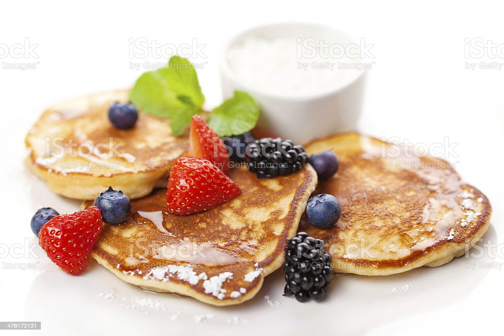 Traditional american breakfast - pancakes and berries royalty-free stock photo