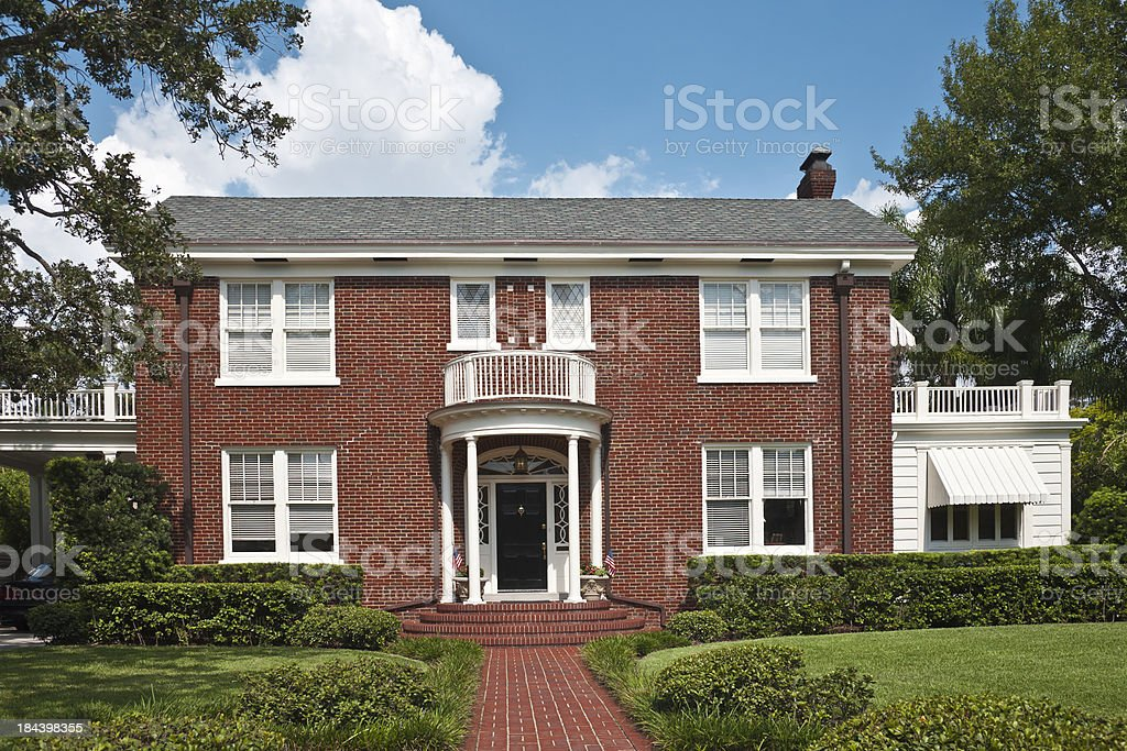 Traditional American Brick Home stock photo