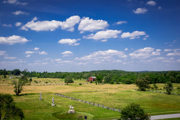 Traditional American farm under a blue sky stock photo