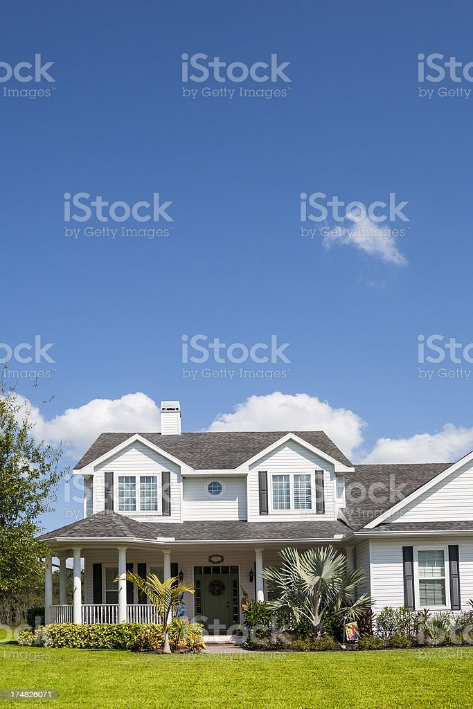 Traditional American Home; Space for Copy royalty-free stock photo