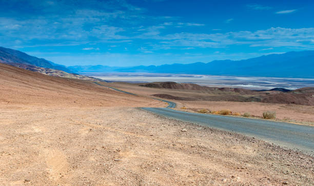 Traditional American Scenic Long Highway in the Mountains of Death Valley National Park