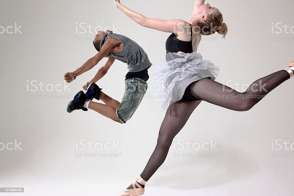 Traditional and contemporary dancers performing stock photo