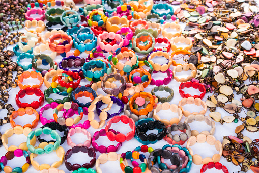 istock Traditional and everyday bracelet on  The indigenous Otavalo people market in Otavalo, Ecuador 1181566598