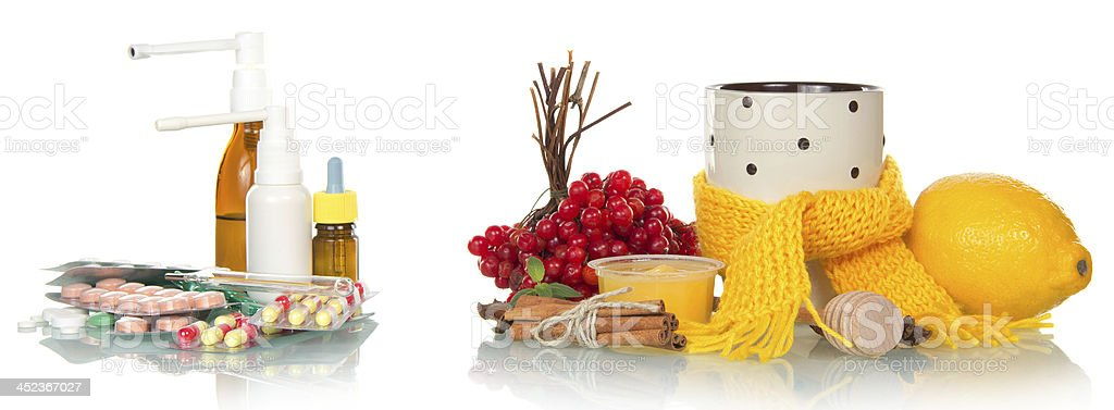 Traditional and medicamentous remedies for cold royalty-free stock photo