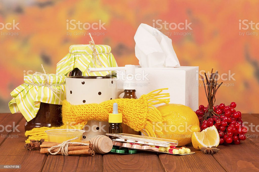 Traditional and medicines for cold against royalty-free stock photo