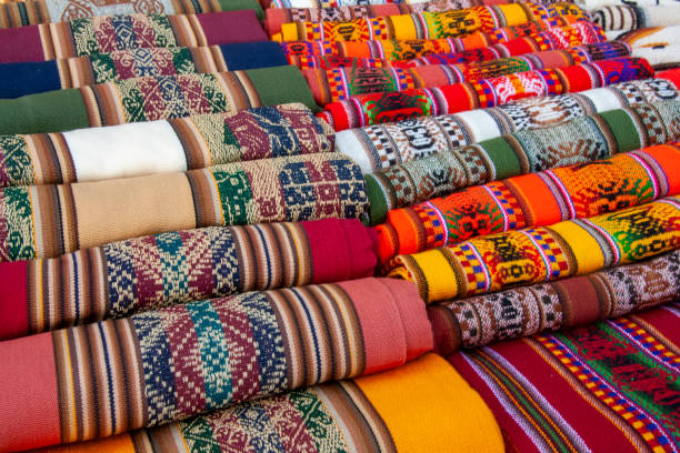 Traditional Andean tapestry from northern Argentina and Bolivia. stock photo