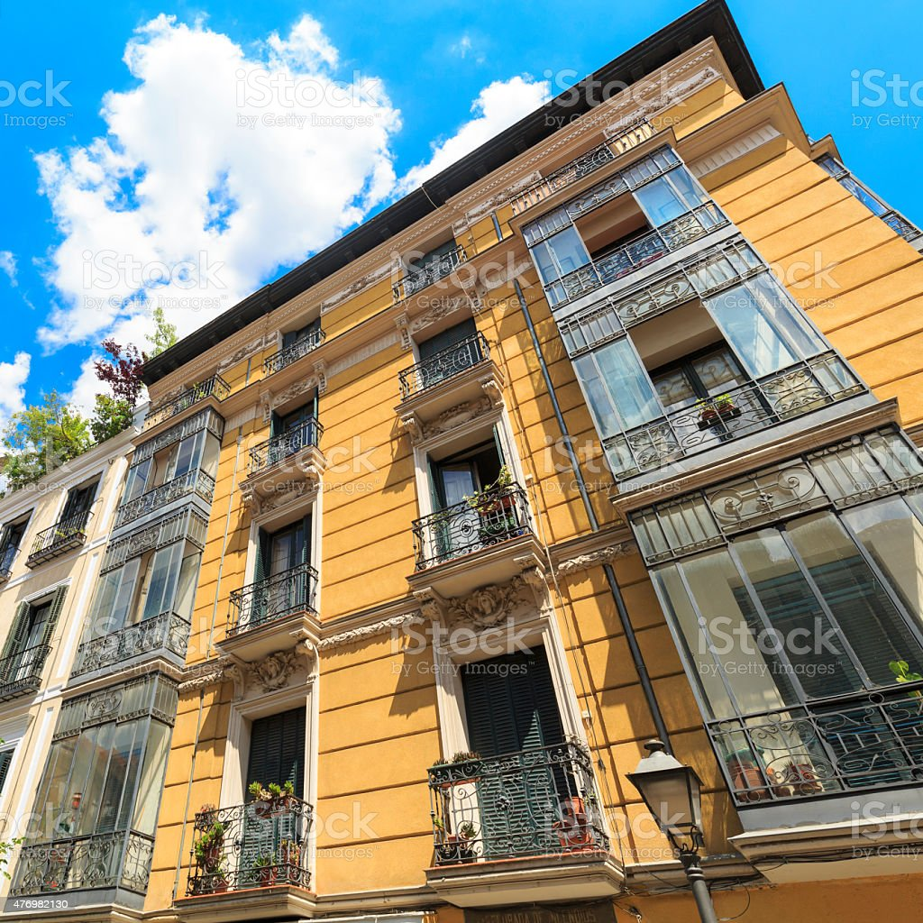 Traditional Apartments And Balconies In Madrid, Spain Royalty Free Stock  Photo