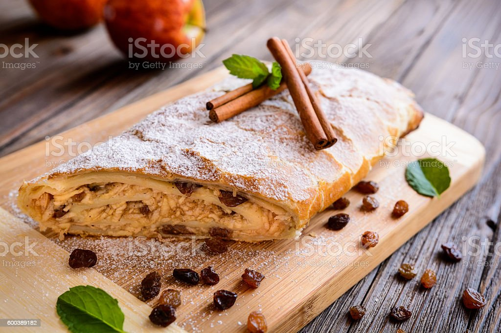 Traditional Apple strudel stock photo